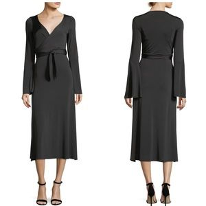 Cinq a Sept Lourdes Bell Sleeve Slit Wrap Dress